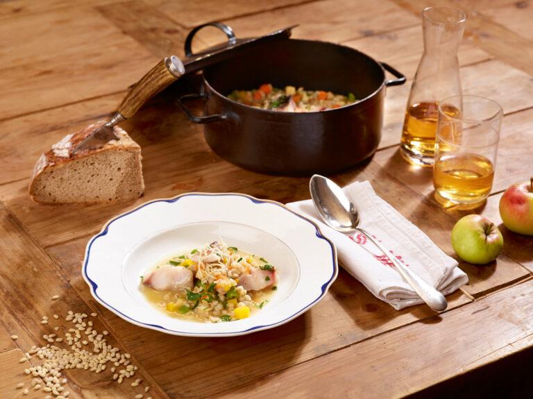 Lavanttaler Walleritschert mit Apfelwein und Gemüse