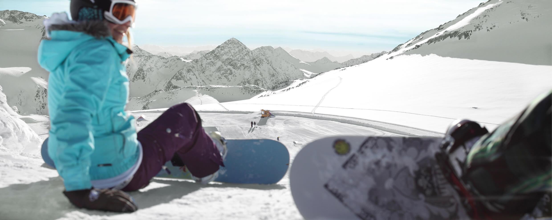 Snowboarden im Funpark Stubaital